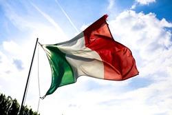 tricolor italian flag wind sky