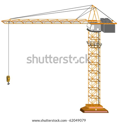 tridimensional crane drawing, isolated on white background; abstract art illustration; for vector format please visit my gallery