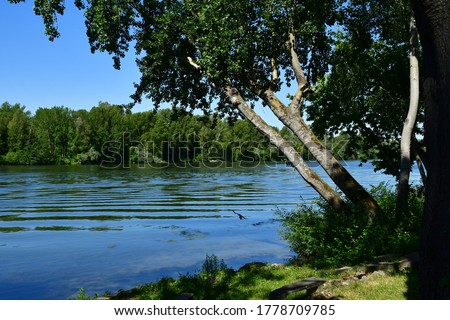 Triel sur Seine; France - june 1 2020 : the Seine riverside Stock photo ©
