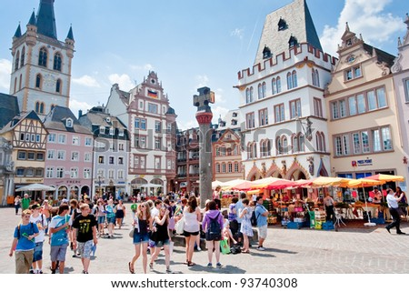 TRIER, GERMANY-  JUNE 28: medieval Market cross on central square. Archbishop Henry I equipped the cross in 958 on main town market, in Trier, Germany, on June 28, 2010