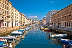 Trieste channel and Ponte Rosso square view, city in Friuli Venezia Giulia region of Italy