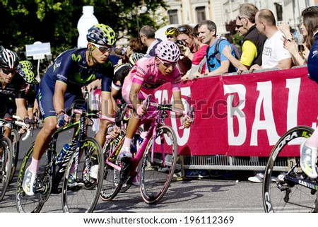 TRIESTE, ITALY - JUNE 1:The winner Nairo Quintana wearing pink jersey during  the  final stage of \
