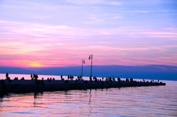 Trieste pier at sunset