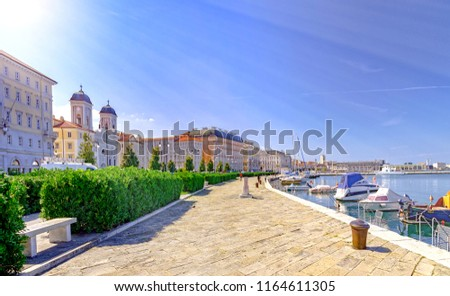 Trieste promenade and small port in Italy by Adriatic sea