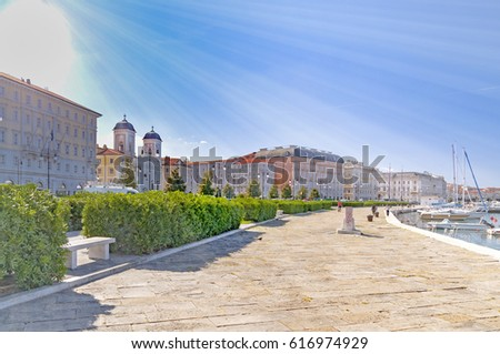Trieste promenade in Italy by Adriatic sea