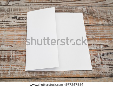 Trifold white template paper on wood texture #597267854