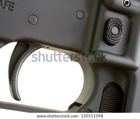 Trigger and magazine release on a modern assault rifle
