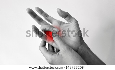 Trigger finger disease (locking finger or stenosing tenosynovitis disorder), hand anatomy with highlight on painful area.  Patient has pain and catching of finger problem. Medical symptom concept