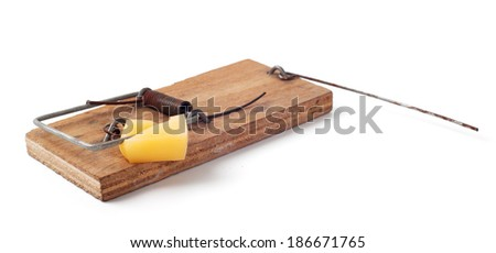 Triggered mousetrap isolated on white