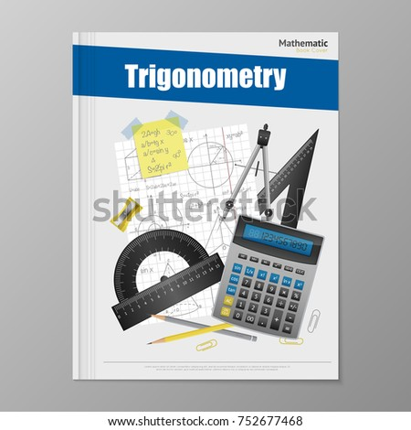 Trigonometry flyer template with copybook rulers calculator pencils rubber and compass  illustration