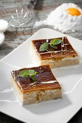 Trilece traditional Turkish cake made with three types of milk