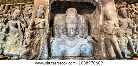 Trimurti Sadashiva sculpture in the cave 1 on Elephanta Island. Mumbai - Maharashtra, India Stock fotó ©