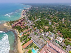 Trincomalee Town,  coastal resort city. Panoramic Top View on beach in Trincomalee.