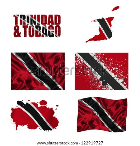 Trinidad and Tobago flag and map in different styles in different textures