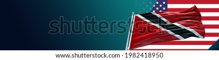 Trinidad and Tobago Flag with Flat United States of America Flag and large Gradient Double Flag - 3D illustration - 3D render   Stock photo ©