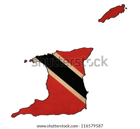 Trinidad and Tobago map on Trinidad and Tobago flag drawing ,grunge and retro flag series