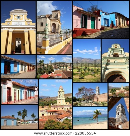 Trinidad, Cuba photos collage - travel memories photo collection. Images of colonial architecture, churches and Ancon beach.