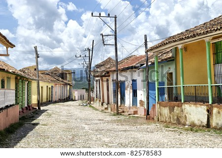 Trinidad, Cuba - World Heritage site, typical colorful village street - stock photo