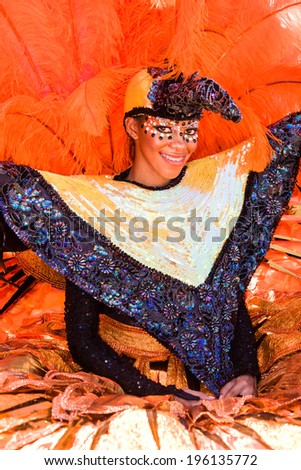 """TRINIDAD WEST INDIES - FEB 2, 2008: Costumed band member at the """"Junior Parade of the Bands""""�� festivities during Trinidad Carnival celebrations on February 2, 2008 in Port Of Spain, Trinidad W. I."""