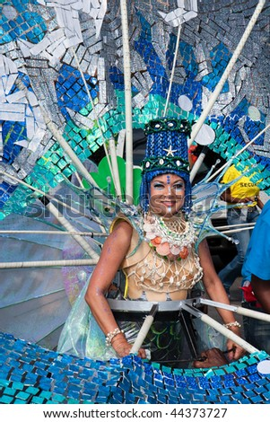 TRINIDAD WEST INDIES - FEBRUARY 5: masquerader in a colorful costume during Carnival celebrations on February 5, 2008 in Trinidad W.I.