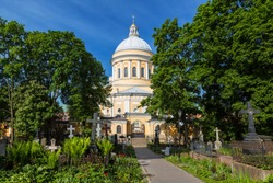 Trinity Cathedral of Alexander Nevsky Lavra and St. Nicholas necropolis, St. Petersburg, Russia