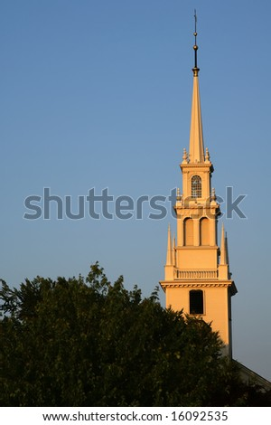 Trinity Church Steeple in Newport, RI Vertical With Copy Space