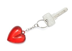 Trinket for the keys as a heart, isolated on a white background