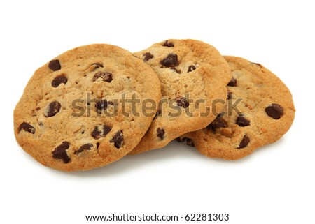 Trio Of Chocolate Chip Cookies Isolated On White Background