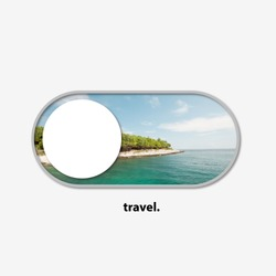 Trip switch for your trip dreams - turn the travel on. Beautiful view of landscape as a way to turn every time of the year into traveling. Discover the world easy like using smartphone. Modern design.