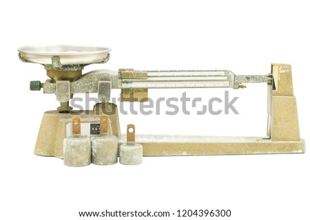 Triple beam balance on White background In the chemistry laboratory. #1204396300