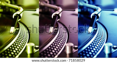 Triple collage of DJ professional turntables playing vinyl records with music in different colors. Audio equipment for disc jockey and music lover. Green, magenta and blue vibrant color