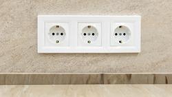 Triple European 220 volt socket on the wall