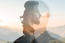 Triple exposure portrait of a businessman combinated with beautiful mountain landscape on the sunset