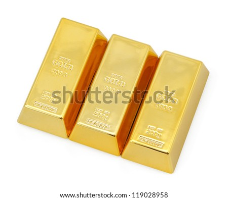 Triple gold bars. - stock photo