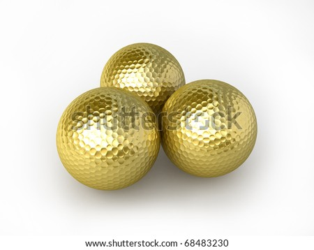 triple gold golfball (clipping path)