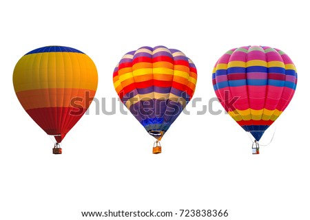 Triple hot air balloons isolated on white background