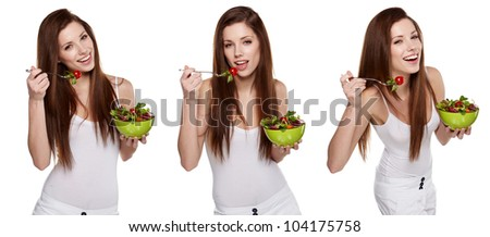 triple image of the same fashion model in different poses