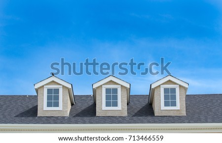 Triplex roof of a Canadian apartment building #713466559