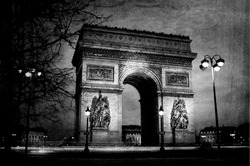 Triumph arch from Paris at night on vintage paper