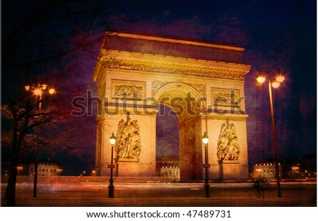triumph arch from paris at...