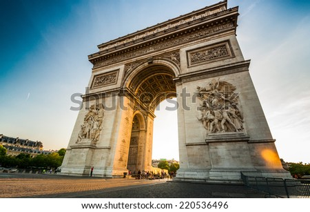 Shutterstock Triumphal Arch at the end of Champs-Elysees street before sunset in Paris,France