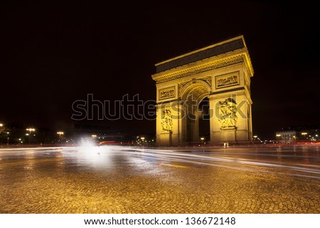 Triumphal Arch in Paris at night