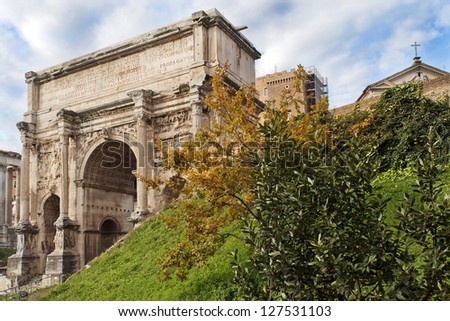 triumphal Arch of Emperor Septimius Severus in the Roman Forum in Rome, Italy, a series of tour of Rome