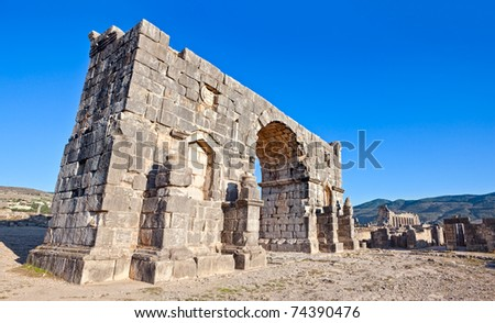Triumphal Arch - Volubilis features the best preserved Roman ruins in this part of northern Africa.