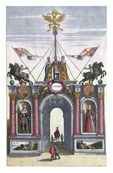 Triumphal Gate of the Fugger Family, December 1599, vintage engraving.