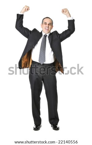 Triumphant businessman in a suit isolated on white background