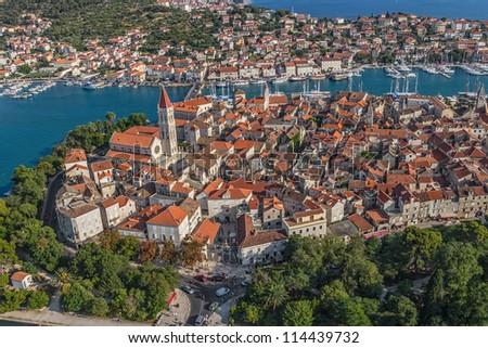 Trogir old town panorama. Croatia tourist destination.