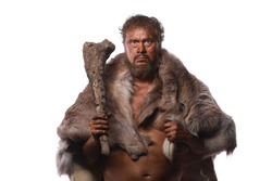 troglodyte, neanderthal man on a white background