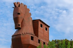 Trojan horse - made of wood, tourist attraction in the ancient city of Troya  - Hisarlik in Turkey.