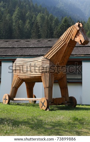 Trojan horse replica in Italy. Wooden military machine. Symbol of treachery and deception.